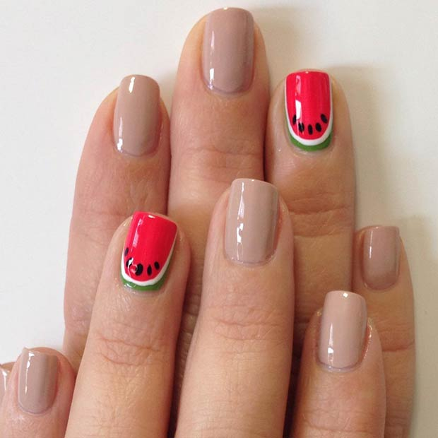 Watermelon Accent Nail Art Design.