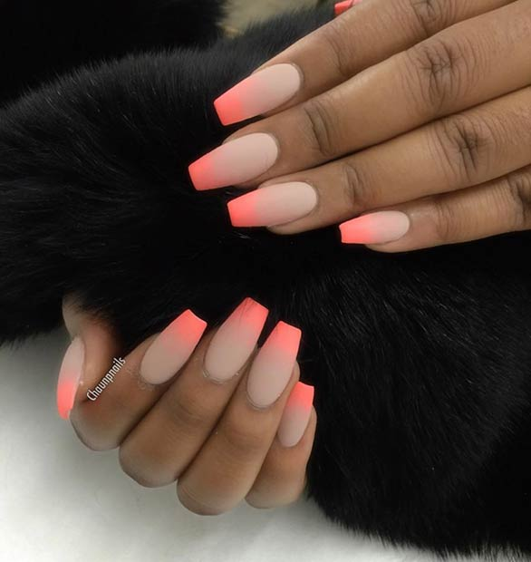 Matte Summer Nail Design for Long Nails