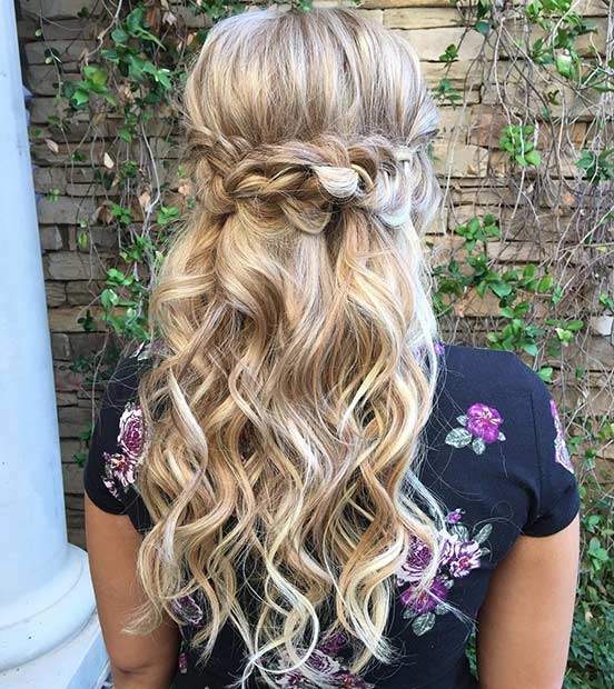 Long Curly Half Updo for Bridesmaids