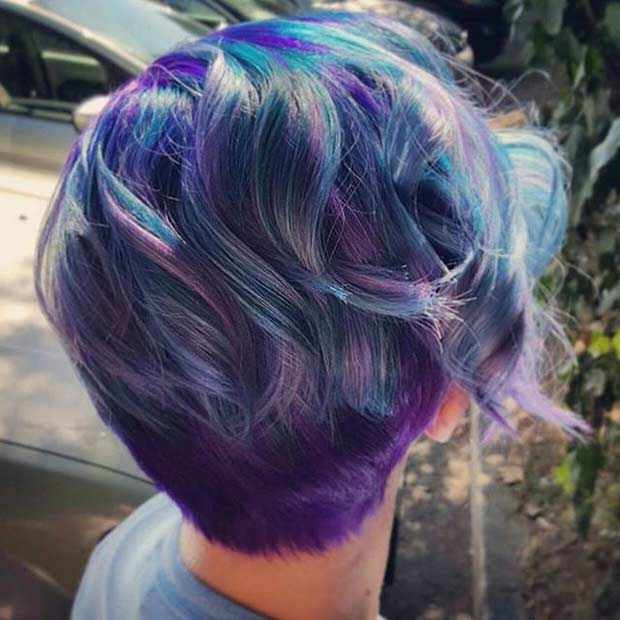 Blue and Purple Pixie Hairstyle