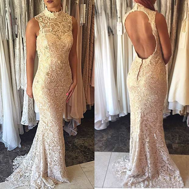 Lace Champagne Wedding Dress with Open Back