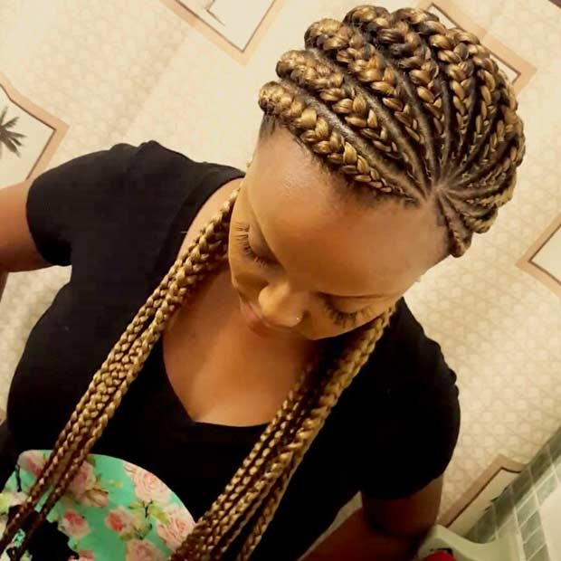 Light Brown Ghana Braids Style