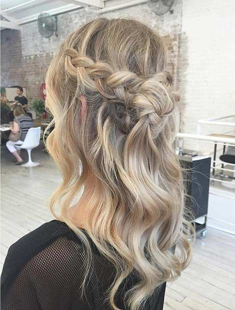 Braided Crown Half Up Hairstyle