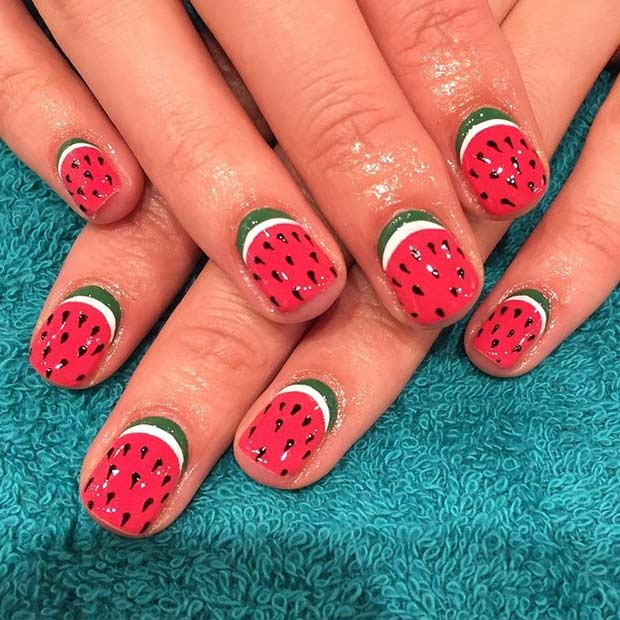 Watermelon Nail Design for Short Nails