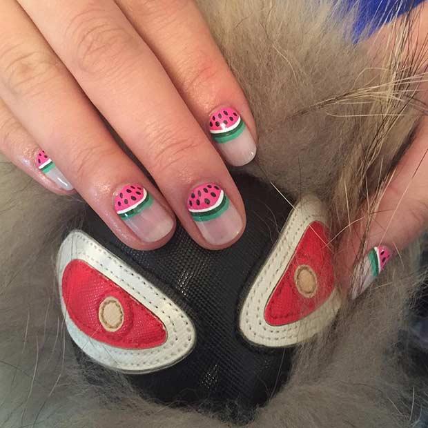 Watermelon Half Moon Manicure