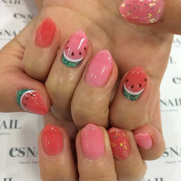 Red and Pink Watermelon Nails