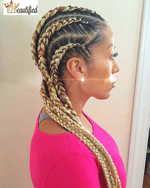 Blonde Ghana Braids Style