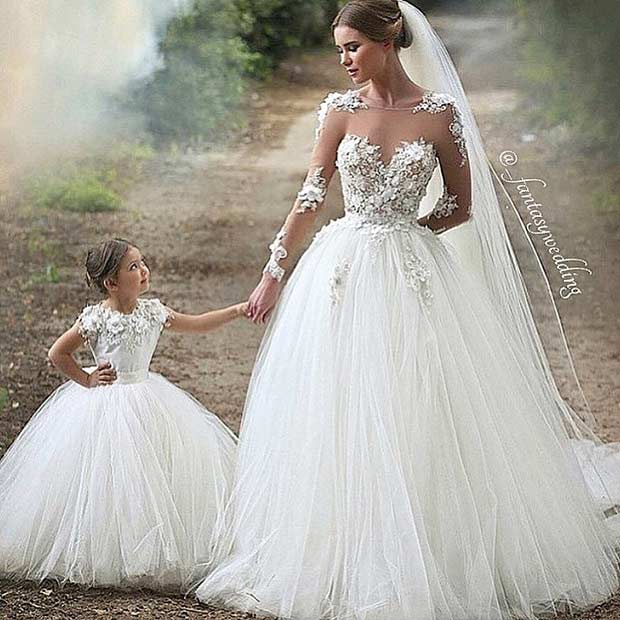See Through Long Sleeved Wedding Gown