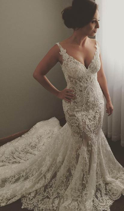 Lace V Neck Wedding Dress