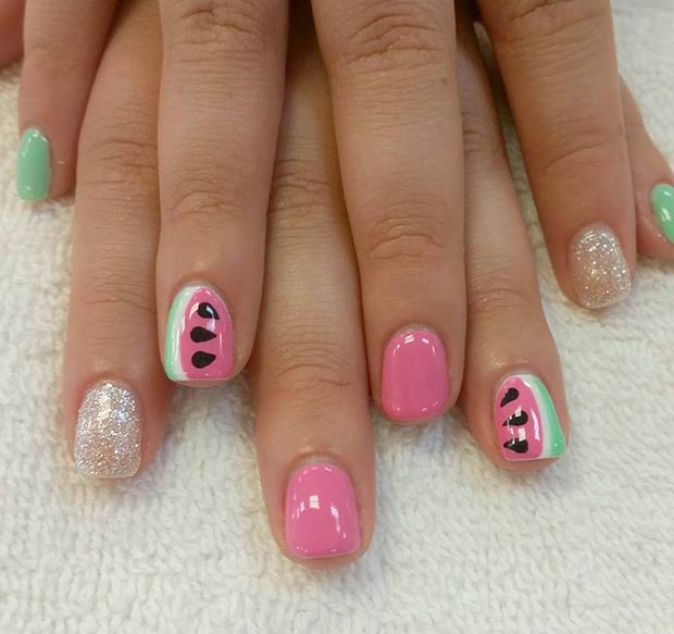 Pink Watermelon Accent Nails