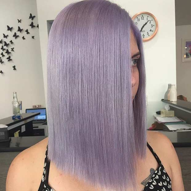 Dusty Lavender Long Bob