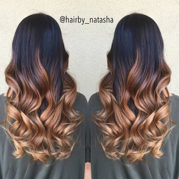 Caramel Balayage Ombre on Dark Brown Hair