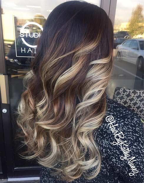 Silvery Blonde Balayage Highlights on Dark Hair