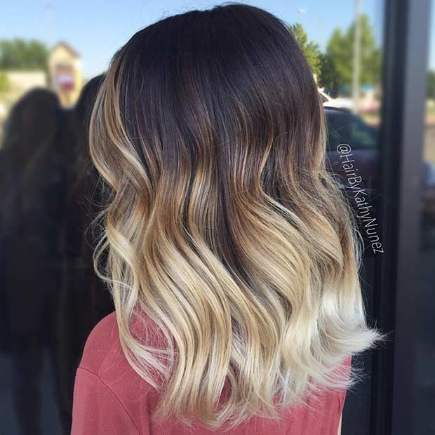 Blonde Balayage Ombre on Dark Medium Length Hair