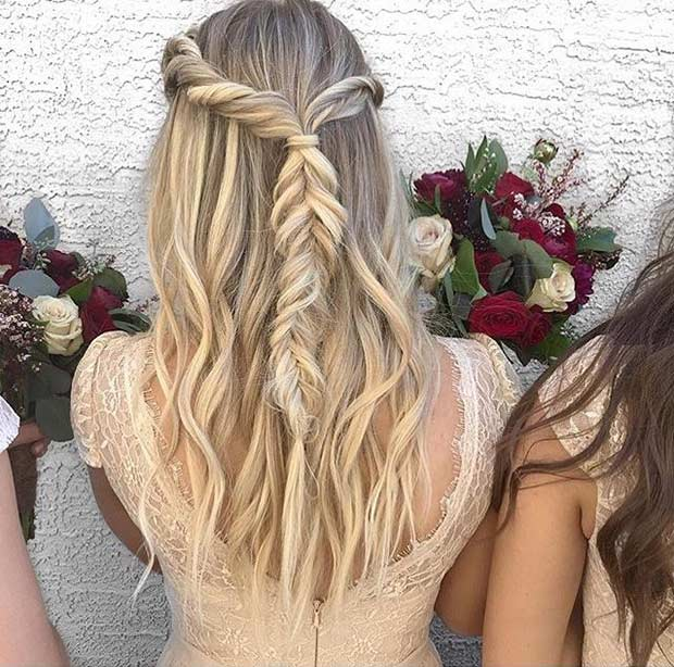 31 half up half down hairstyles for bridesmaids stayglam twisted fishtail braid half updo for bridesmaids urmus Image collections