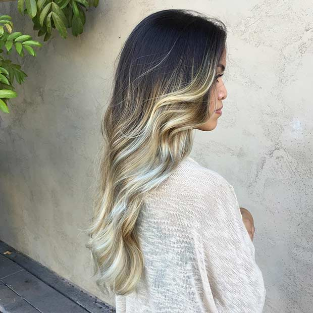 Pearl Blonde Balayage Ombre on Dark Hair