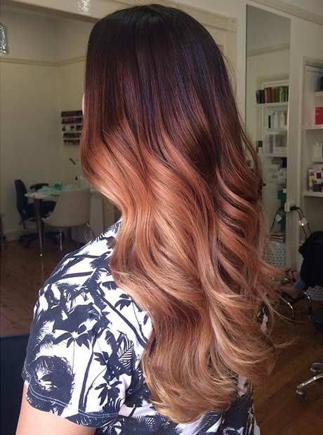 Copper Rose Gold Balayage Hair