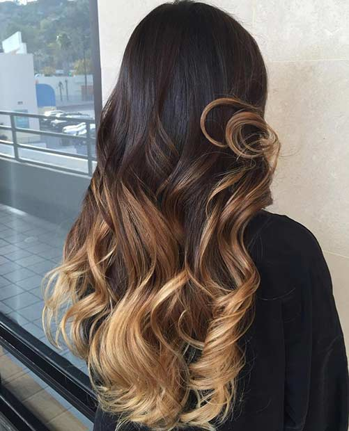 Honey Blonde Balayage Lowlights on Dark hair