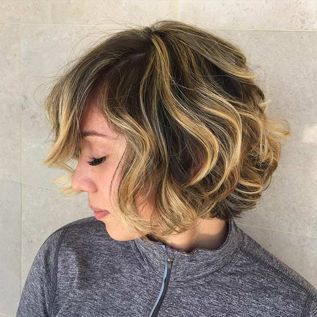 Honey Blonde Balayage Highlights For Short Hair