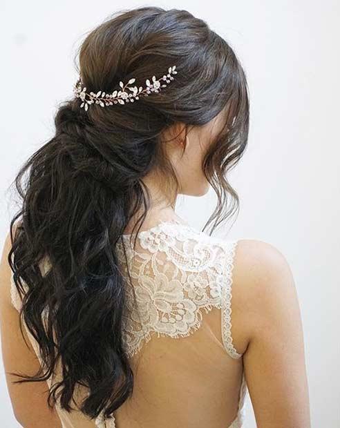 half up half down hairstyles wedding. messy half up style with a hairpiece down hairstyles wedding f