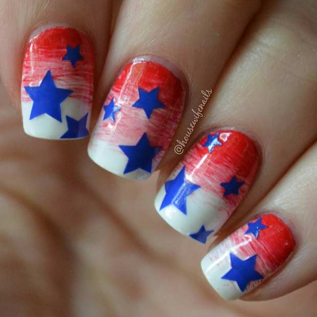 31 patriotic nail ideas for the 4th of july stayglam star nail design for the 4th of july prinsesfo Choice Image