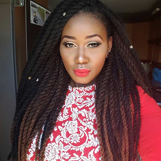 Black and Brown Crochet Twist Hairstyle