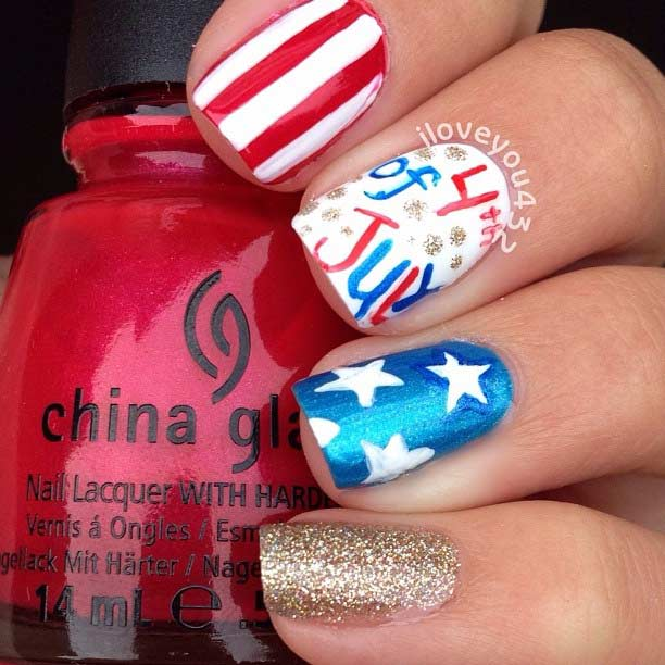 31 patriotic nail ideas for the 4th of july stayglam easy 4th of july nail design prinsesfo Gallery