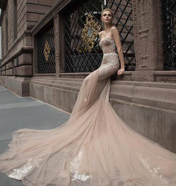Strapless Dark Nude Wedding Dress with White Details