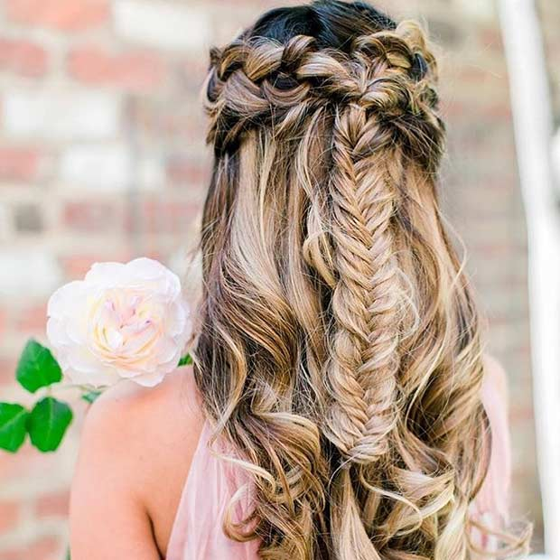 Braided Boho Half Updo for Bridesmaids