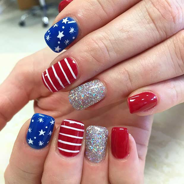 Stripes and Stars Nail Design for the Fourth of July - 31 Patriotic Nail Ideas For The 4th Of July Page 2 Of 3 StayGlam