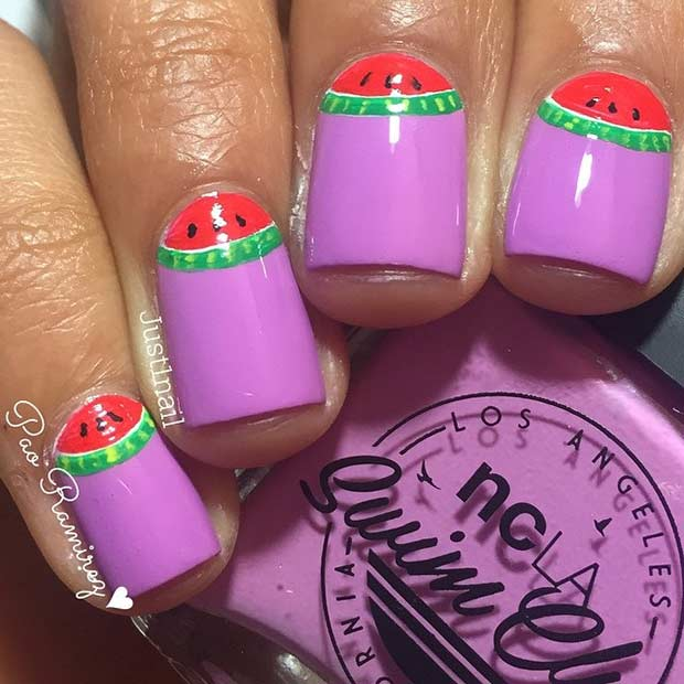 Purple Nail Design with Watermelons