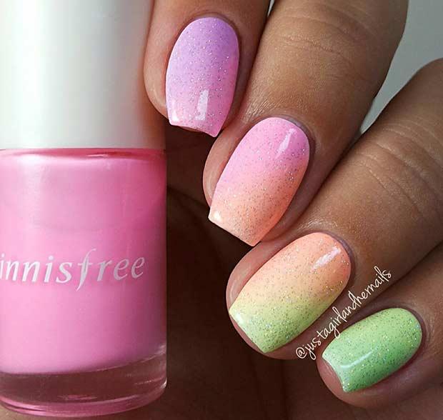 Rainbow Ombre Glitter Nail Design