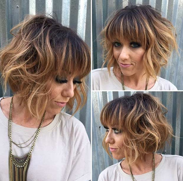Short Bob with Bangs and Caramel Balayage Highlights