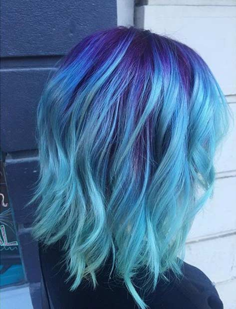 Light Blue Hair with Purple Roots