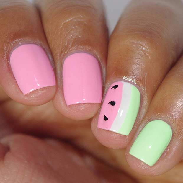 Short Watermelon Nail Design for Summer