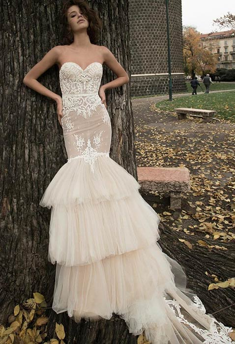 Champagne Mermaid Wedding Dress