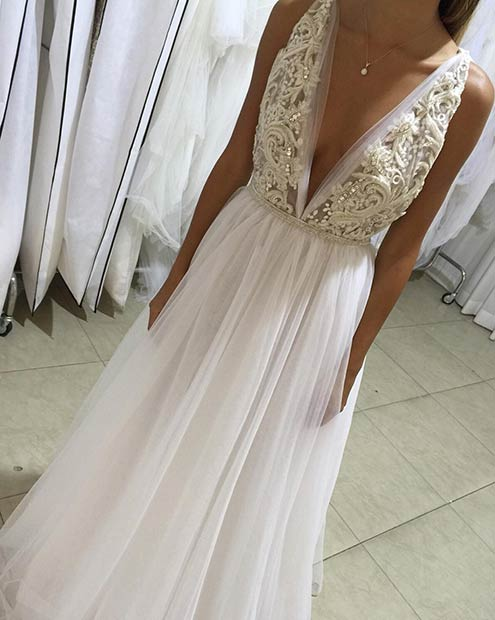 Deep V Neckline Wedding Dress