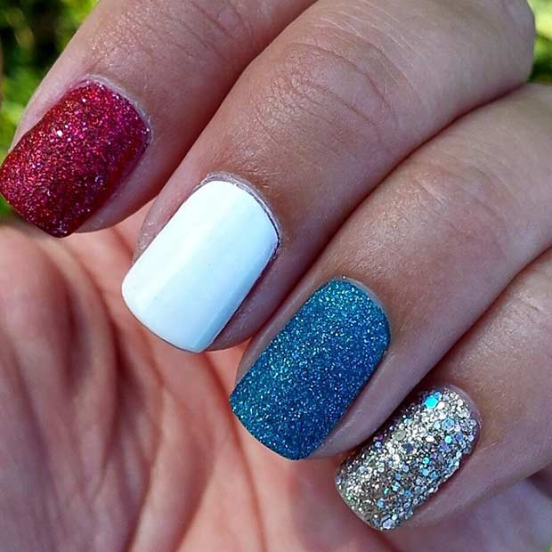 31 patriotic nail ideas for the 4th of july stayglam simple red white and blue nails prinsesfo Image collections