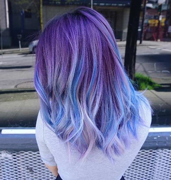 25 amazing blue and purple hair looks stayglam dusty purple hair with blue lowlights pmusecretfo Images