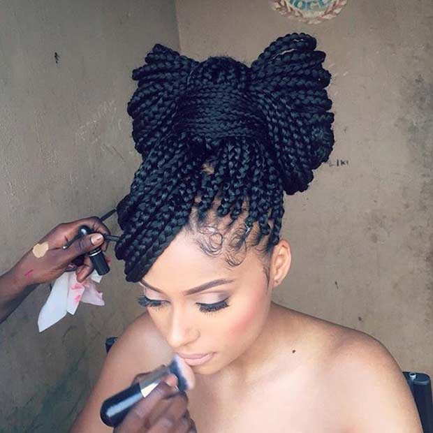 Cute Bow Poetic Justice Braids Updo