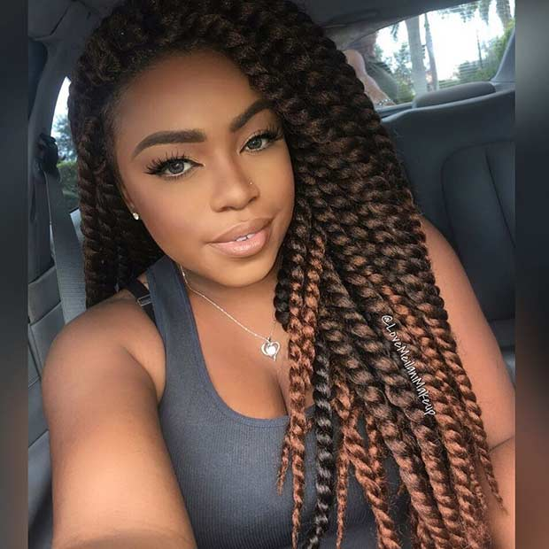 Brown and Caramel Crochet Twist Style - 31 Stunning Crochet Twist Hairstyles Page 3 Of 3 StayGlam