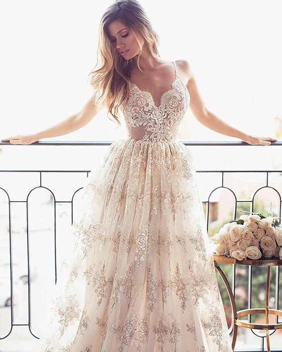 Champagne Lace Beach Wedding Dress