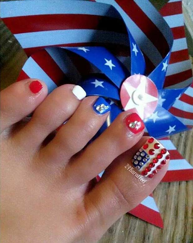 American Flag Toe Nail Design