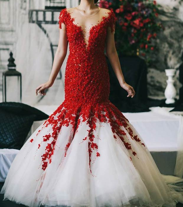 Red and White Mermaid Wedding Dress