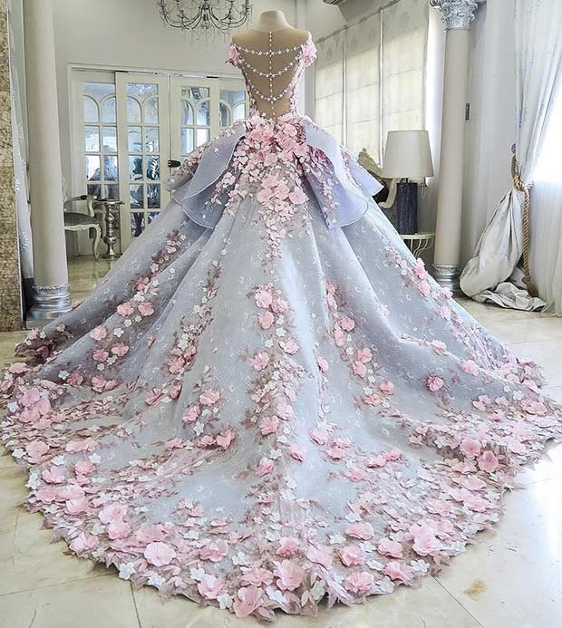 31 most beautiful wedding dresses stayglam blue and pink princess wedding dress junglespirit
