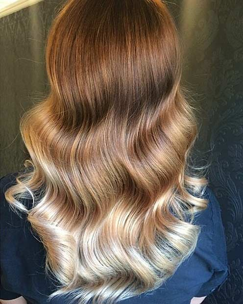 Copper and Blonde Balayage Hair
