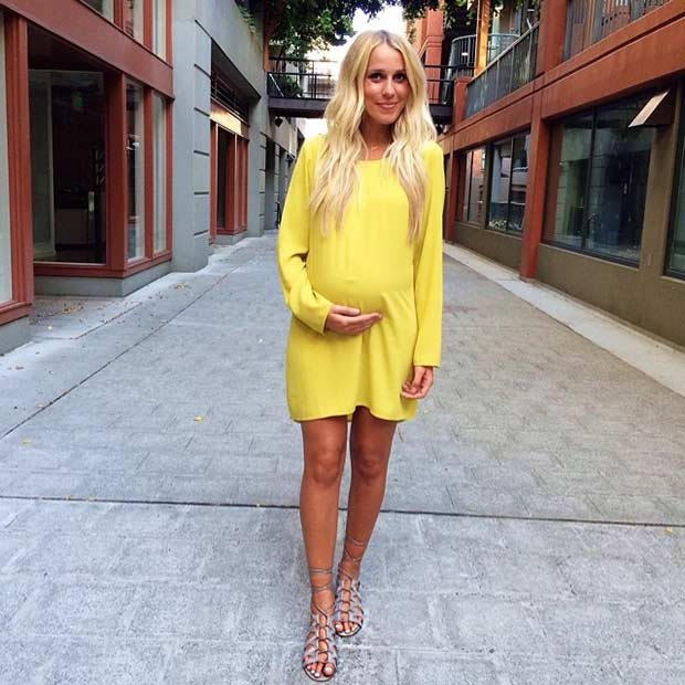 Long Sleeves Yellow Dress Pregnancy Outfit