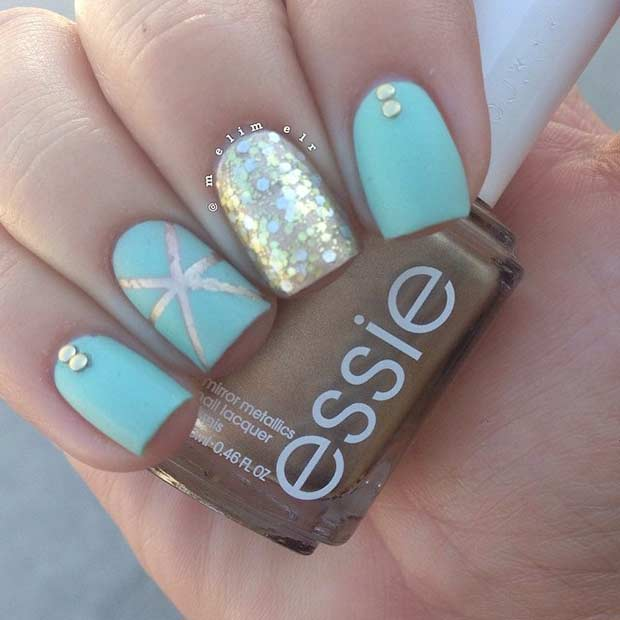 Teal Gold Matte Nail Design for Summer - 35 Bright Summer Nail Designs Page 2 Of 3 StayGlam