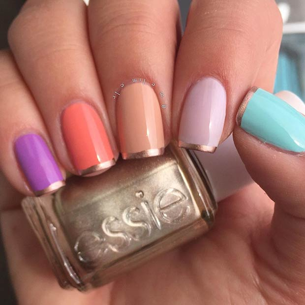 Colorful French Tip Nail Design with a Twist