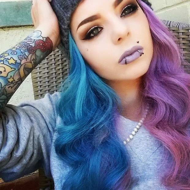 Blue and Purple Split Dyed Hair
